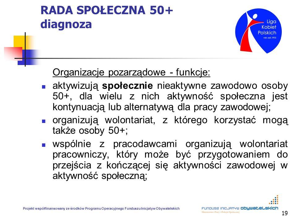 19 RADA SPOŁECZNA 50+ diagnoza Organizacje pozarządowe - funkcje: aktywizują społecznie nieaktywne zawodowo osoby 50+, dla wielu z nich aktywność społ