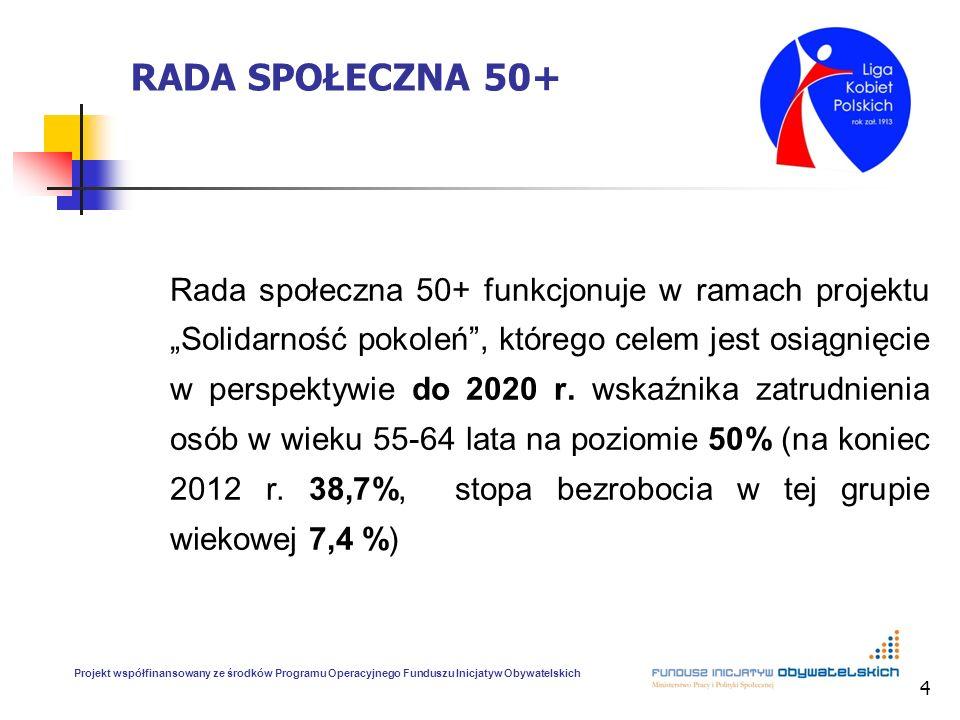4 RADA SPOŁECZNA 50+ Rada społeczna 50+ funkcjonuje w ramach projektu Solidarność pokoleń, którego celem jest osiągnięcie w perspektywie do 2020 r. ws