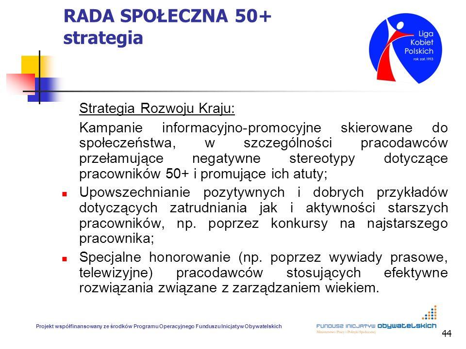 44 RADA SPOŁECZNA 50+ strategia Strategia Rozwoju Kraju: Kampanie informacyjno-promocyjne skierowane do społeczeństwa, w szczególności pracodawców prz
