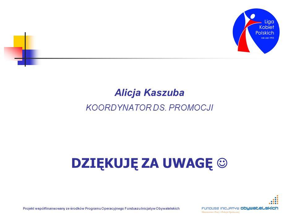 Alicja Kaszuba KOORDYNATOR DS. PROMOCJI DZIĘKUJĘ ZA UWAGĘ Projekt współfinansowany ze środków Programu Operacyjnego Funduszu Inicjatyw Obywatelskich