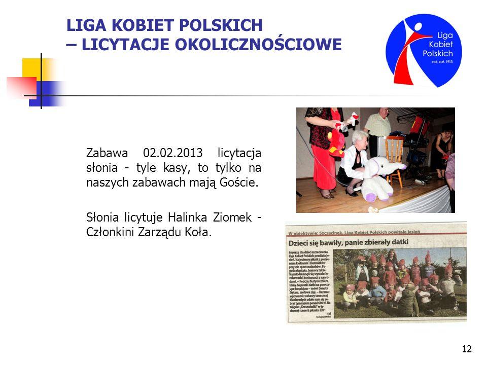 12 LIGA KOBIET POLSKICH – LICYTACJE OKOLICZNOŚCIOWE Zabawa 02.02.2013 licytacja słonia - tyle kasy, to tylko na naszych zabawach mają Goście. Słonia l