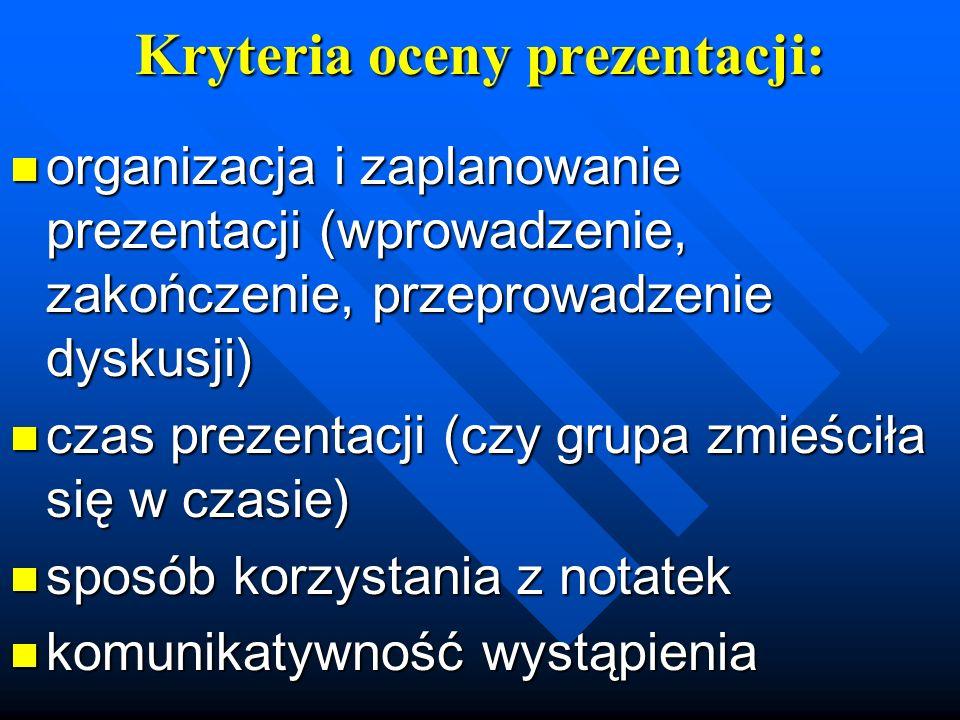 Kryteria oceny prezentacji: organizacja i zaplanowanie prezentacji (wprowadzenie, zakończenie, przeprowadzenie dyskusji) organizacja i zaplanowanie pr