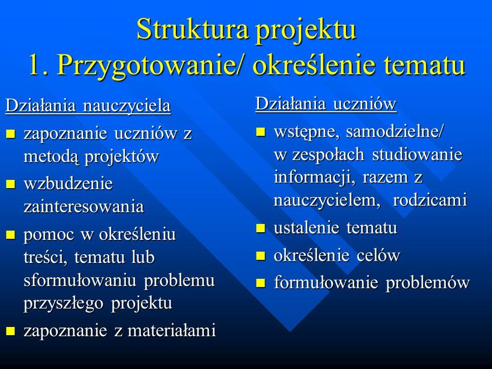 Struktura projektu 1. Przygotowanie/ określenie tematu Działania nauczyciela zapoznanie uczniów z metodą projektów zapoznanie uczniów z metodą projekt