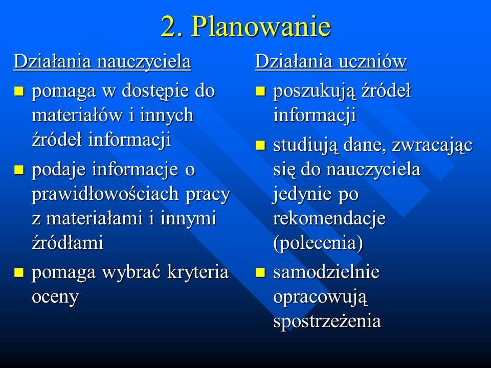 2. Planowanie Działania nauczyciela pomaga w dostępie do materiałów i innych źródeł informacji pomaga w dostępie do materiałów i innych źródeł informa