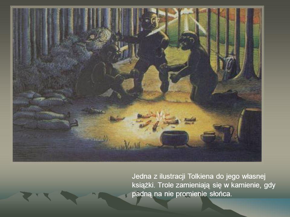 Jedna z ilustracji Tolkiena do jego własnej książki. Trole zamieniają się w kamienie, gdy padną na nie promienie słońca.