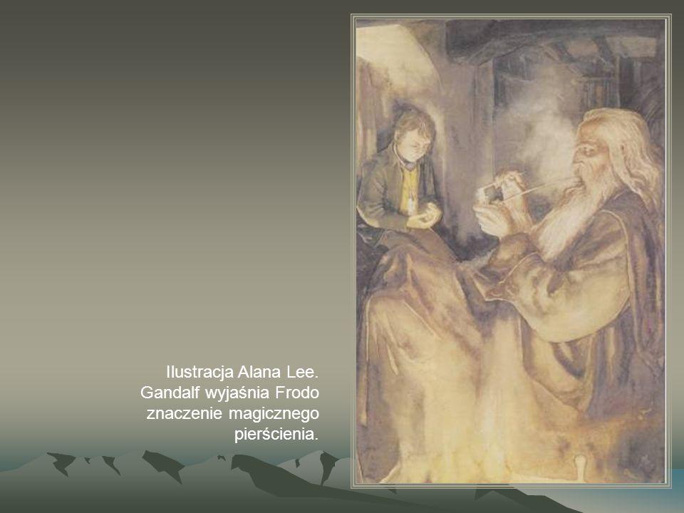 Ilustracja Alana Lee. Gandalf wyjaśnia Frodo znaczenie magicznego pierścienia.
