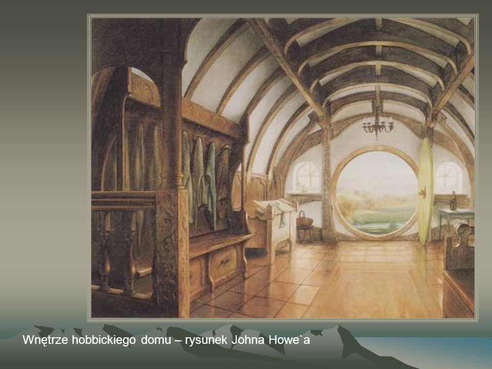 Wnętrze hobbickiego domu – rysunek Johna Howe`a