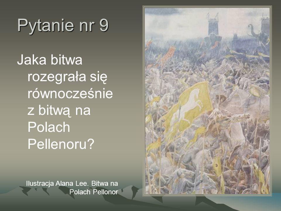 Pytanie nr 9 Jaka bitwa rozegrała się równocześnie z bitwą na Polach Pellenoru? Ilustracja Alana Lee. Bitwa na Polach Pellonor