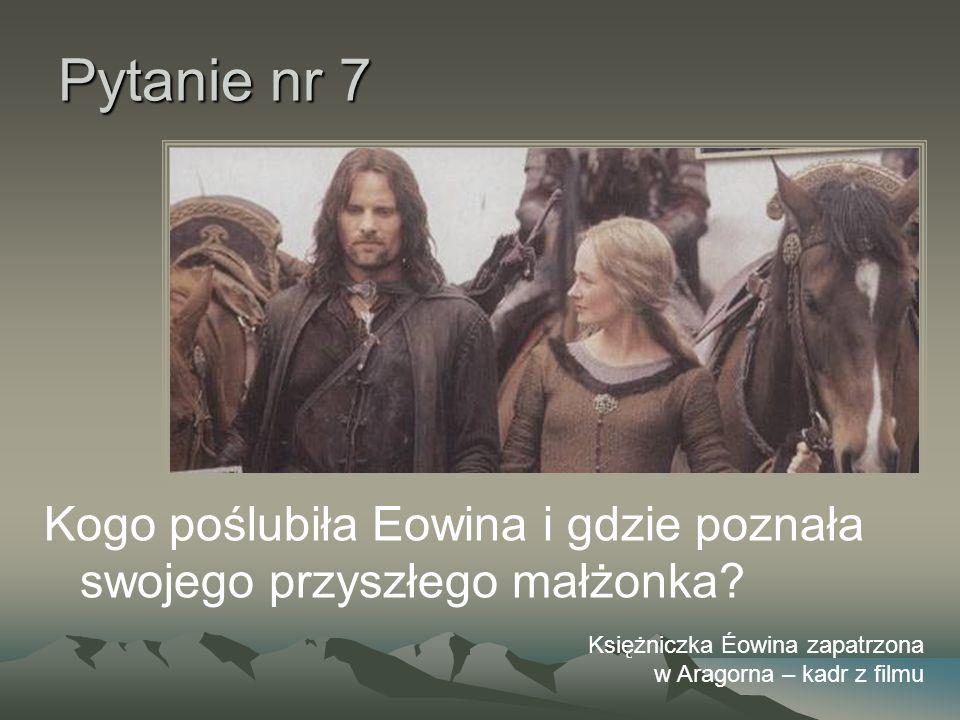 Pytanie nr 7 Kogo poślubiła Eowina i gdzie poznała swojego przyszłego małżonka? Księżniczka Éowina zapatrzona w Aragorna – kadr z filmu