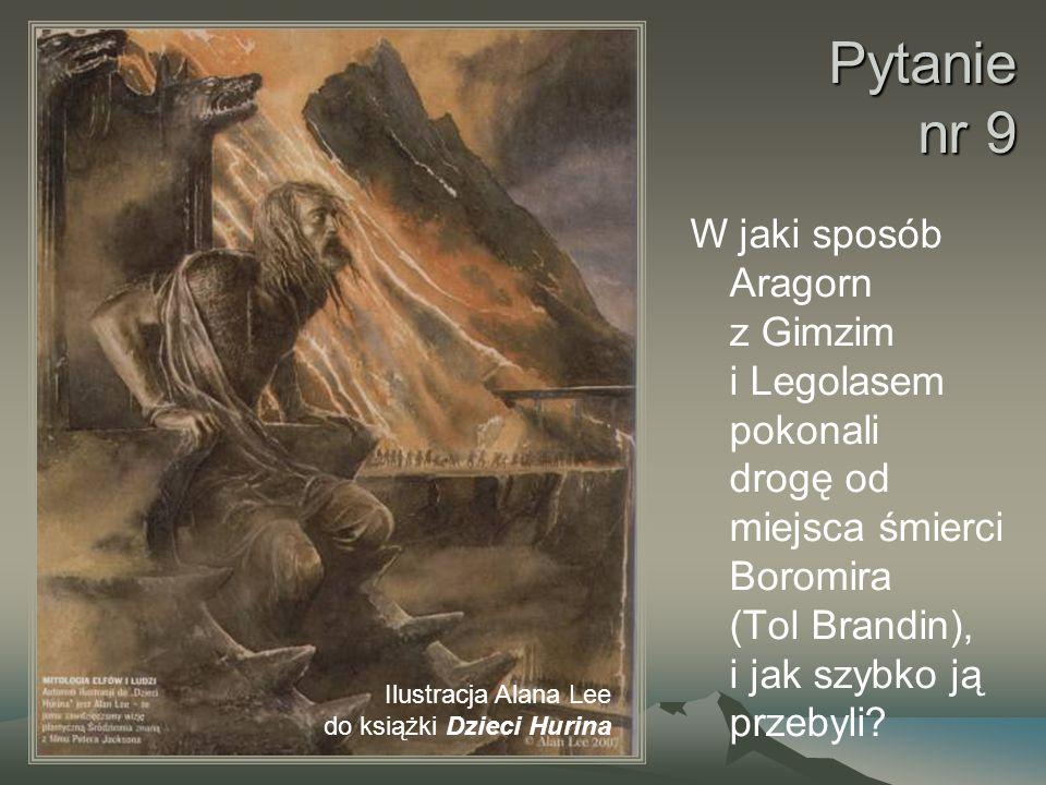 Pytanie nr 9 W jaki sposób Aragorn z Gimzim i Legolasem pokonali drogę od miejsca śmierci Boromira (Tol Brandin), i jak szybko ją przebyli.
