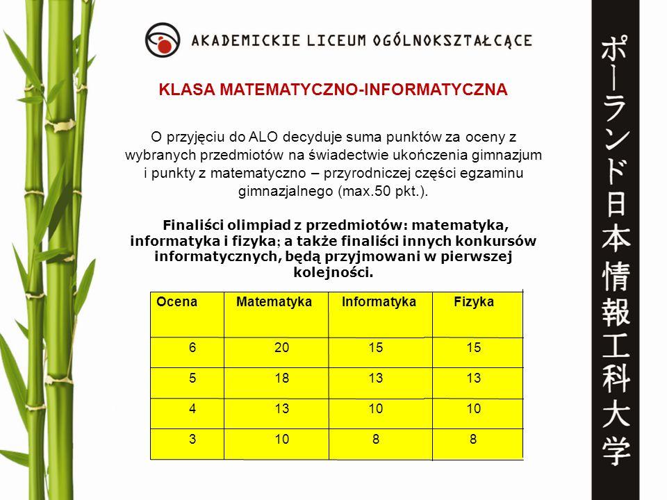KLASA MATEMATYCZNO-INFORMATYCZNA O przyjęciu do ALO decyduje suma punktów za oceny z wybranych przedmiotów na świadectwie ukończenia gimnazjum i punkt