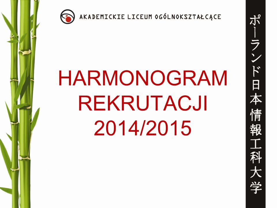 HARMONOGRAM REKRUTACJI 2014/2015