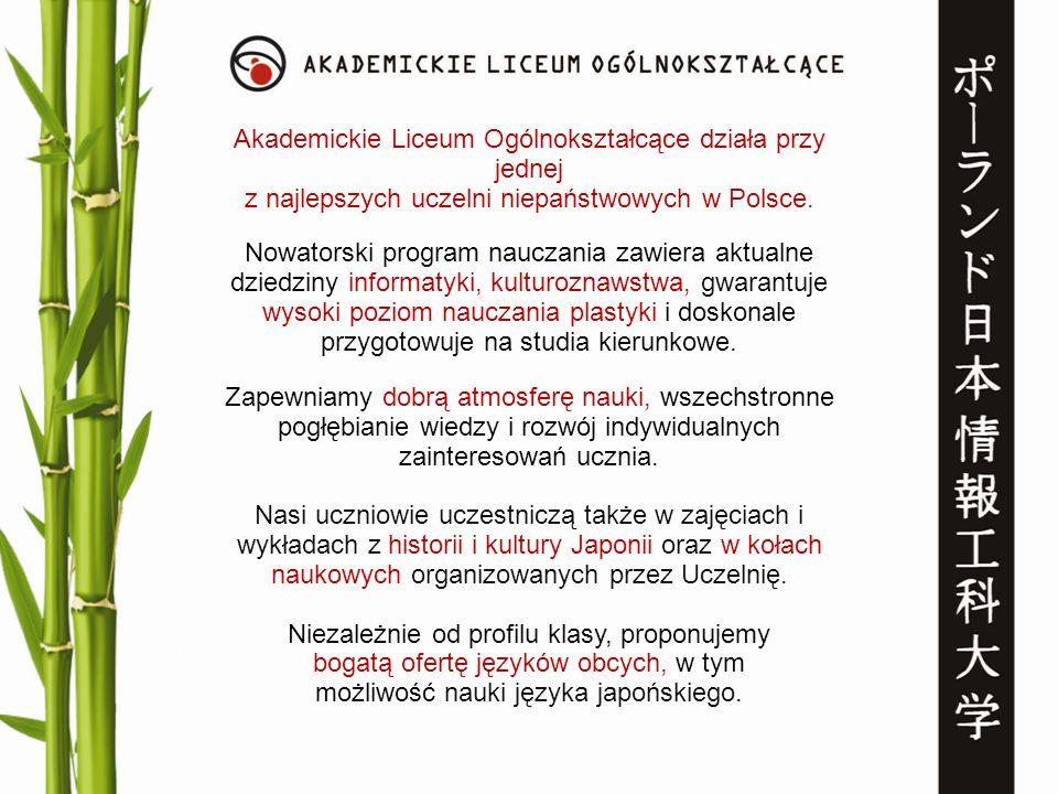 Nowatorski program nauczania zawiera aktualne dziedziny informatyki, kulturoznawstwa, gwarantuje wysoki poziom nauczania plastyki i doskonale przygoto
