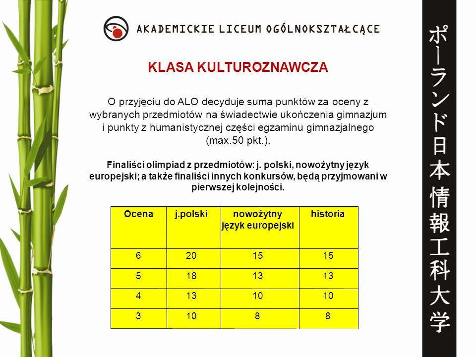 KLASA KULTUROZNAWCZA O przyjęciu do ALO decyduje suma punktów za oceny z wybranych przedmiotów na świadectwie ukończenia gimnazjum i punkty z humanist