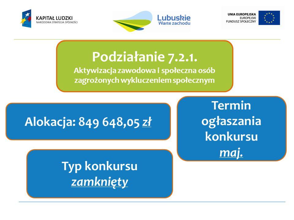 Podziałanie 7.2.1. Aktywizacja zawodowa i społeczna osób zagrożonych wykluczeniem społecznym Alokacja: 849 648,05 zł Termin ogłaszania konkursu maj. T