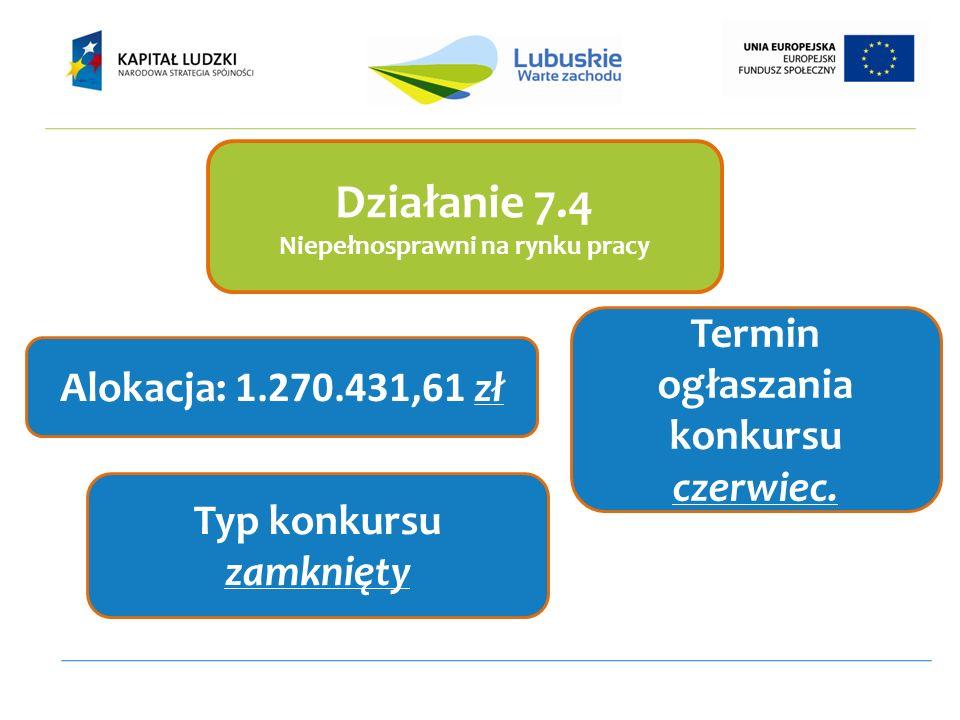 Działanie 7.4 Niepełnosprawni na rynku pracy Alokacja: 1.270.431,61 zł Termin ogłaszania konkursu czerwiec. Typ konkursu zamknięty
