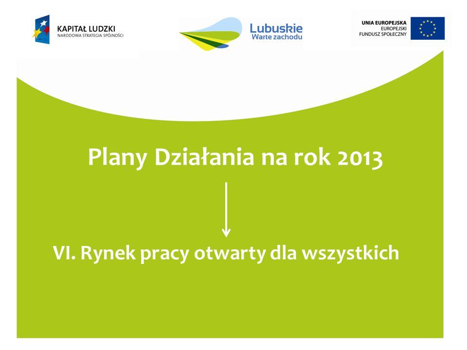 Plany Działania na rok 2013 VI. Rynek pracy otwarty dla wszystkich