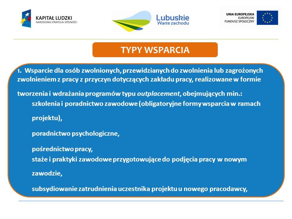 1. Wsparcie dla osób zwolnionych, przewidzianych do zwolnienia lub zagrożonych zwolnieniem z pracy z przyczyn dotyczących zakładu pracy, realizowane w