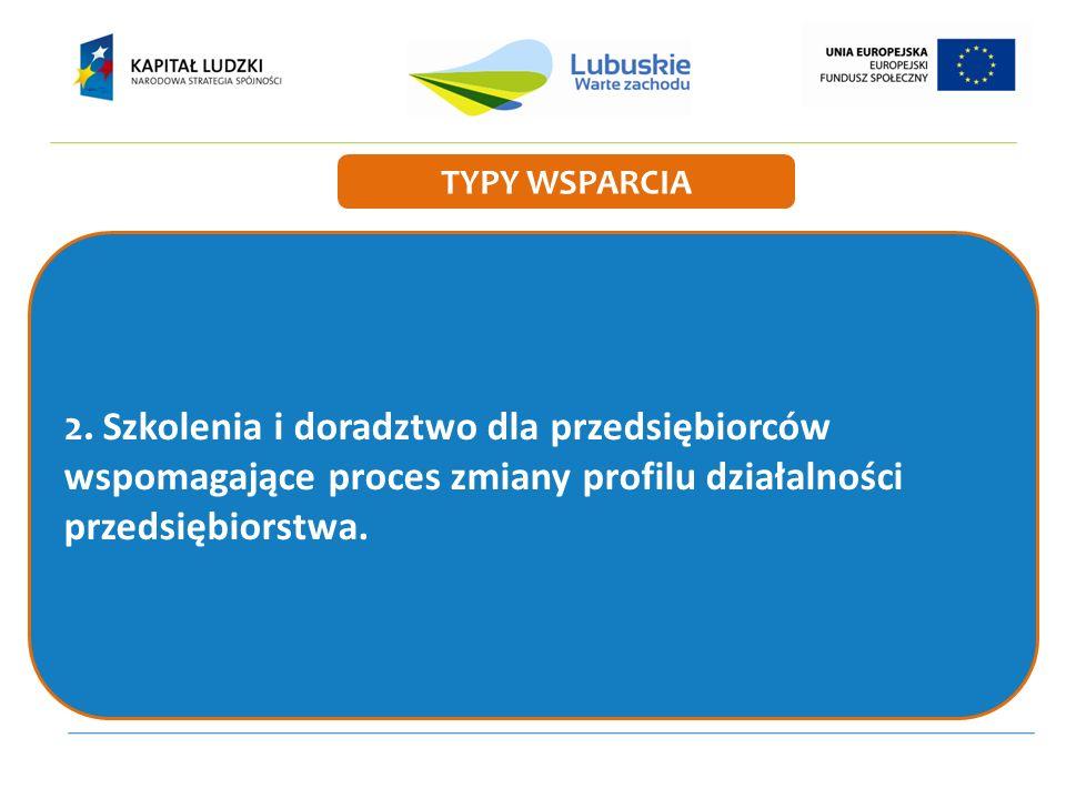 2. Szkolenia i doradztwo dla przedsiębiorców wspomagające proces zmiany profilu działalności przedsiębiorstwa. TYPY WSPARCIA