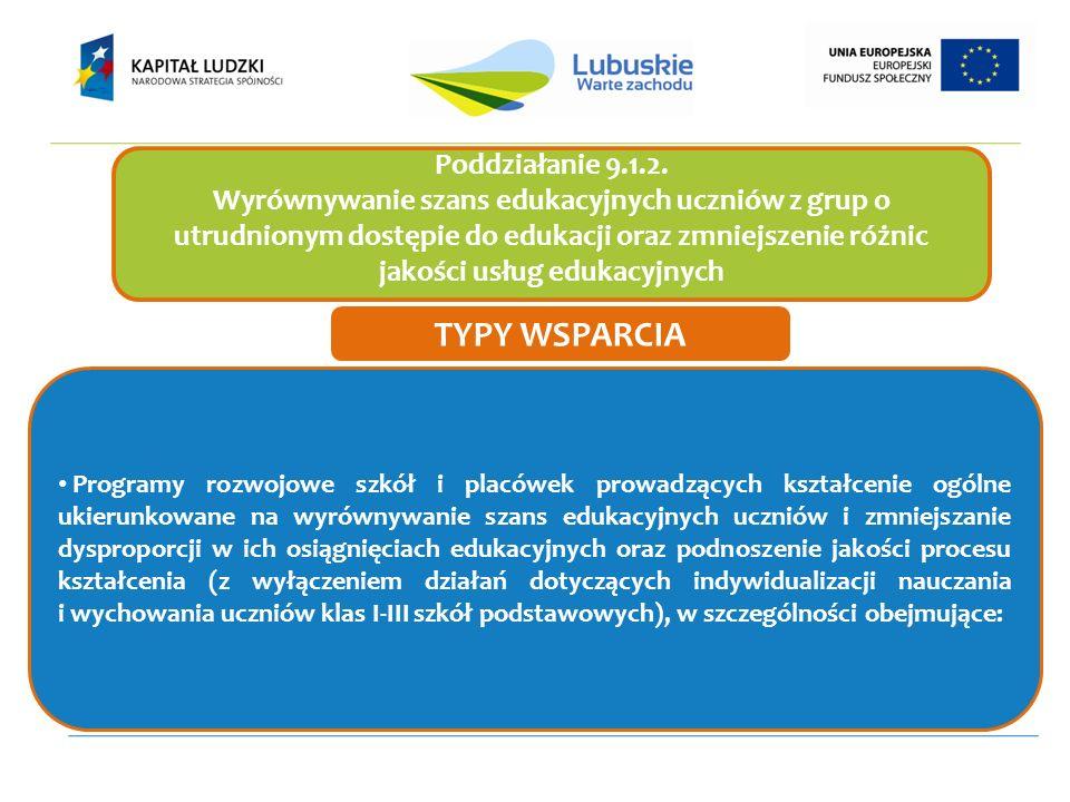 Poddziałanie 9.1.2. Wyrównywanie szans edukacyjnych uczniów z grup o utrudnionym dostępie do edukacji oraz zmniejszenie różnic jakości usług edukacyjn