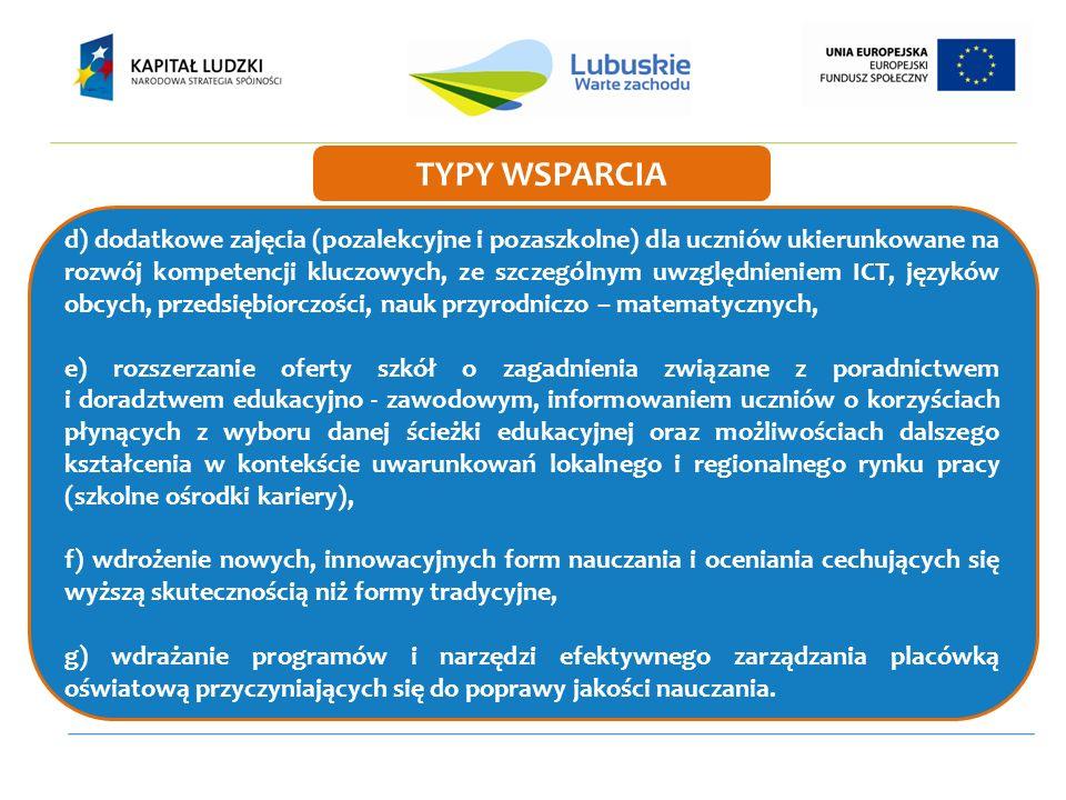 d) dodatkowe zajęcia (pozalekcyjne i pozaszkolne) dla uczniów ukierunkowane na rozwój kompetencji kluczowych, ze szczególnym uwzględnieniem ICT, język