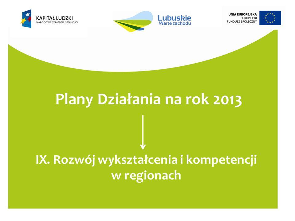 Plany Działania na rok 2013 IX. Rozwój wykształcenia i kompetencji w regionach