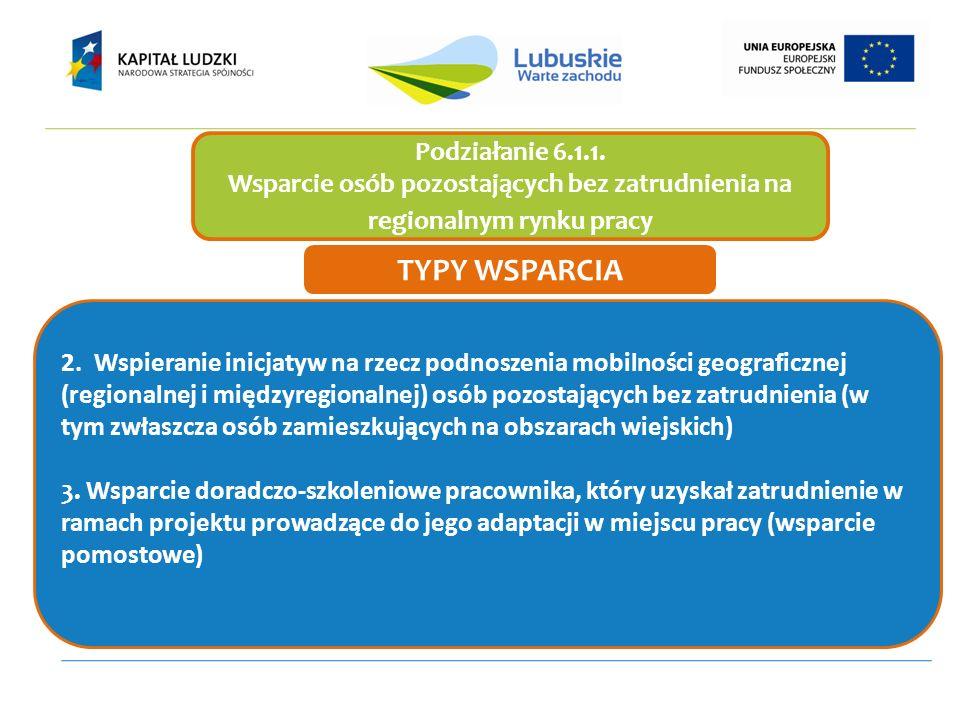 Podziałanie 6.1.1. Wsparcie osób pozostających bez zatrudnienia na regionalnym rynku pracy 2.