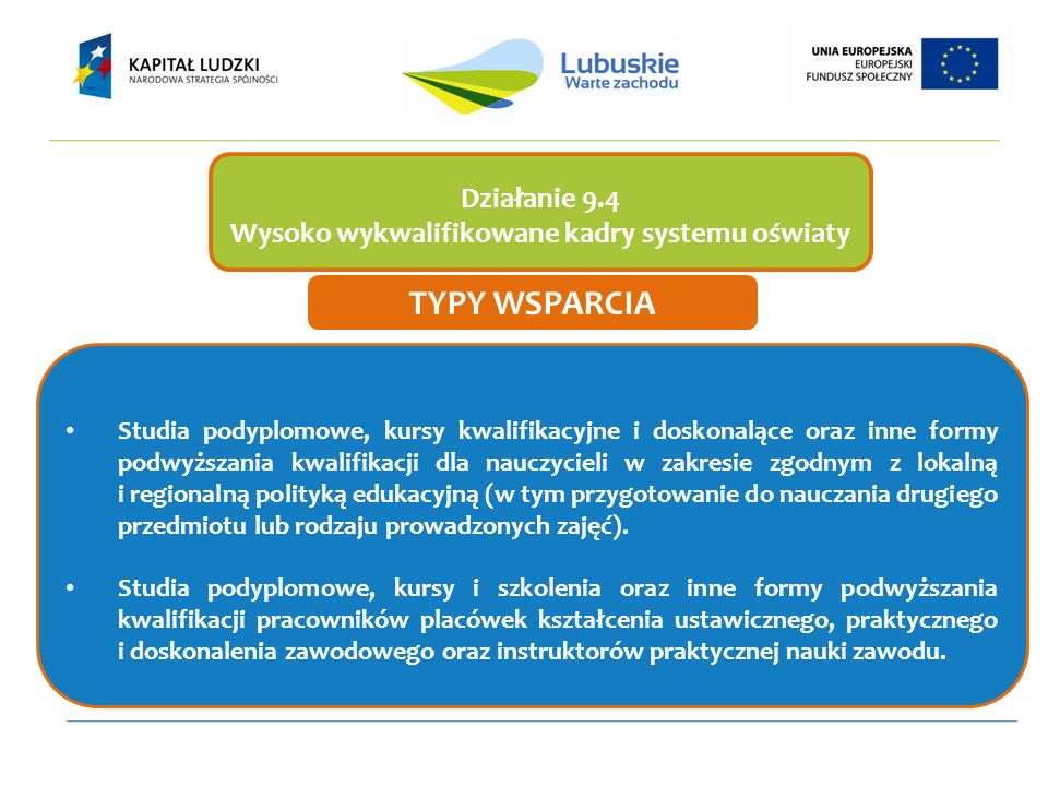 Studia podyplomowe, kursy kwalifikacyjne i doskonalące oraz inne formy podwyższania kwalifikacji dla nauczycieli w zakresie zgodnym z lokalną i region