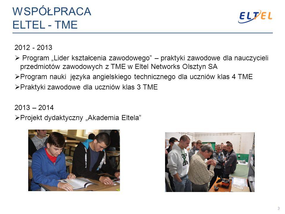 WSPÓŁPRACA ELTEL - TME 2012 - 2013 Program Lider kształcenia zawodowego – praktyki zawodowe dla nauczycieli przedmiotów zawodowych z TME w Eltel Netwo