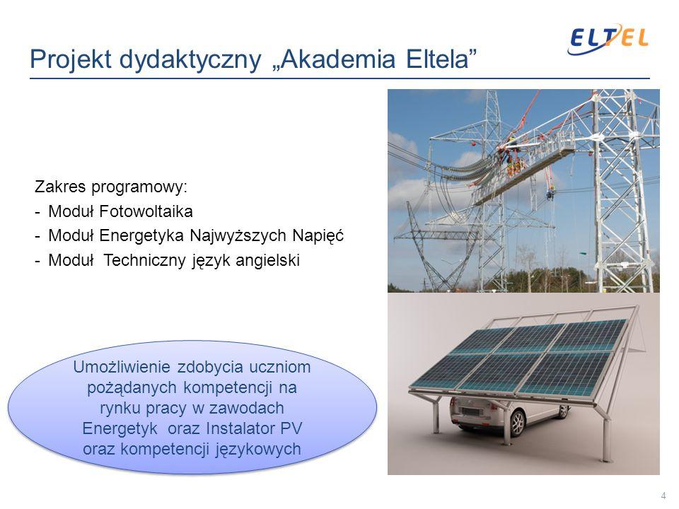 Zakres programowy: -Moduł Fotowoltaika -Moduł Energetyka Najwyższych Napięć -Moduł Techniczny język angielski 4 Umożliwienie zdobycia uczniom pożądany