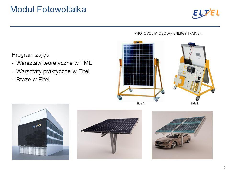 Moduł Fotowoltaika Program zajęć -Warsztaty teoretyczne w TME -Warsztaty praktyczne w Eltel -Staże w Eltel 5