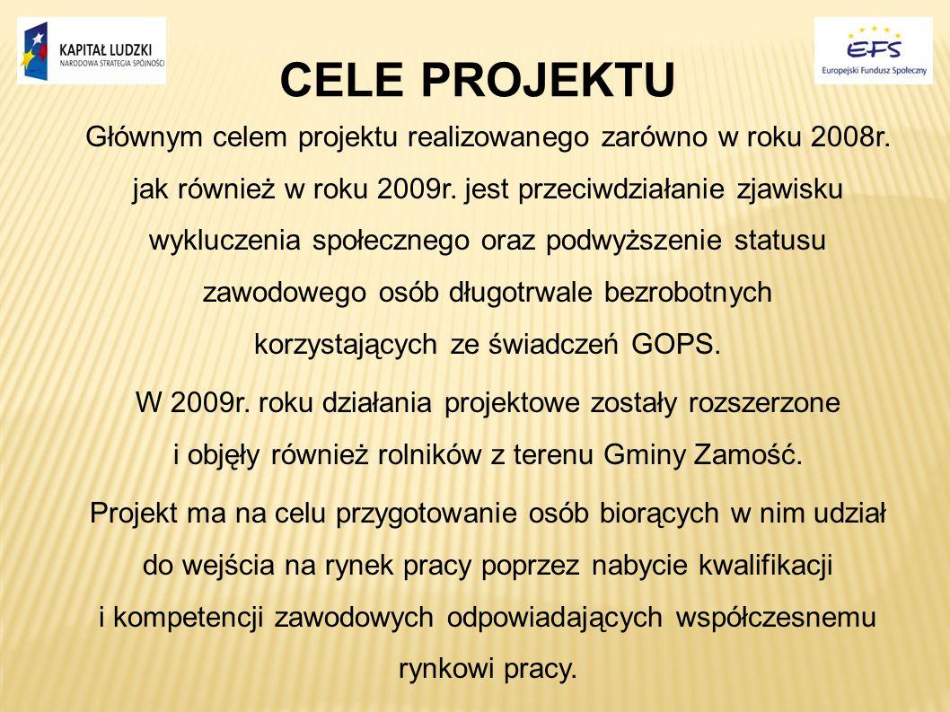CELE PROJEKTU Głównym celem projektu realizowanego zarówno w roku 2008r. jak również w roku 2009r. jest przeciwdziałanie zjawisku wykluczenia społeczn