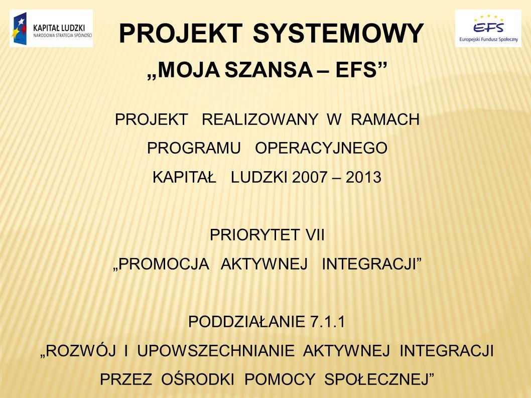PROJEKT SYSTEMOWY MOJA SZANSA – EFS PROJEKT REALIZOWANY W RAMACH PROGRAMU OPERACYJNEGO KAPITAŁ LUDZKI 2007 – 2013 PRIORYTET VII PROMOCJA AKTYWNEJ INTE
