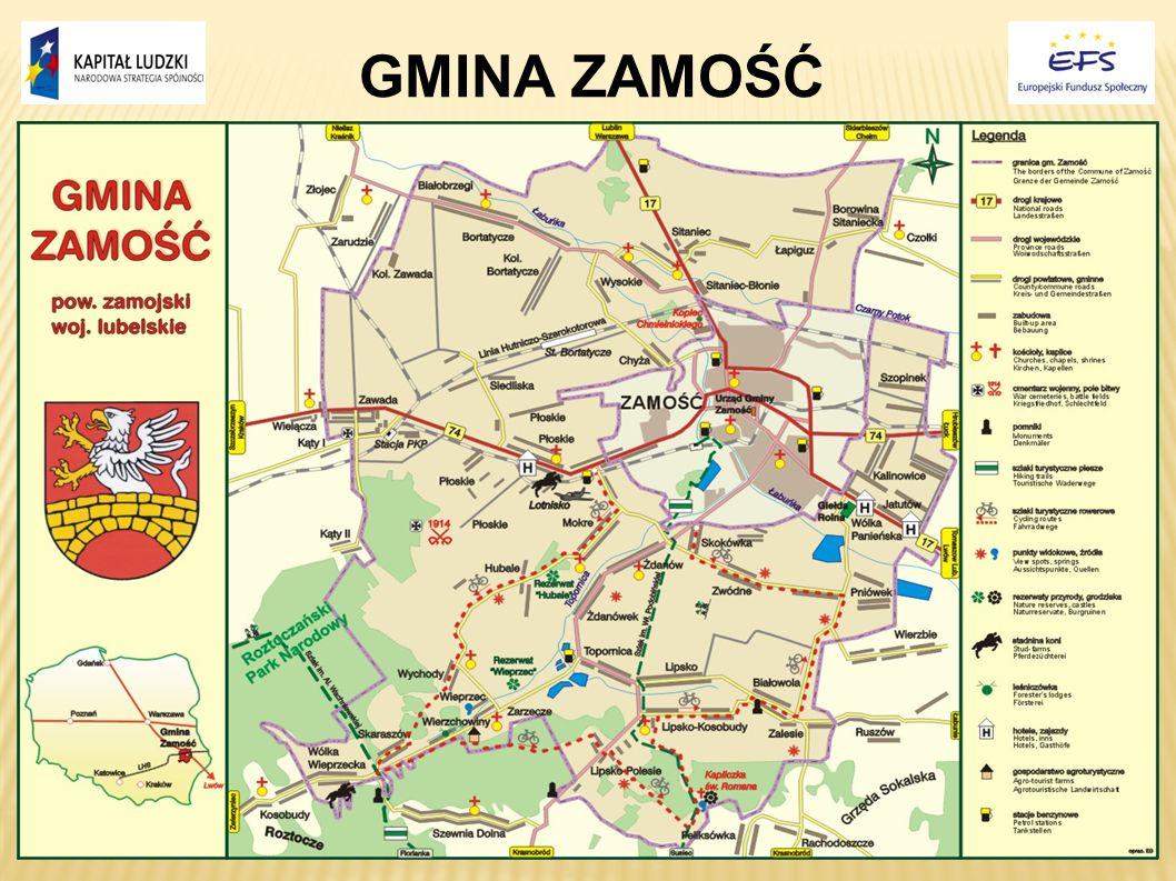Gmina Zamość wchodzi w skład powiatu zamojskiego, leżącego w południowej części województwa lubelskiego.