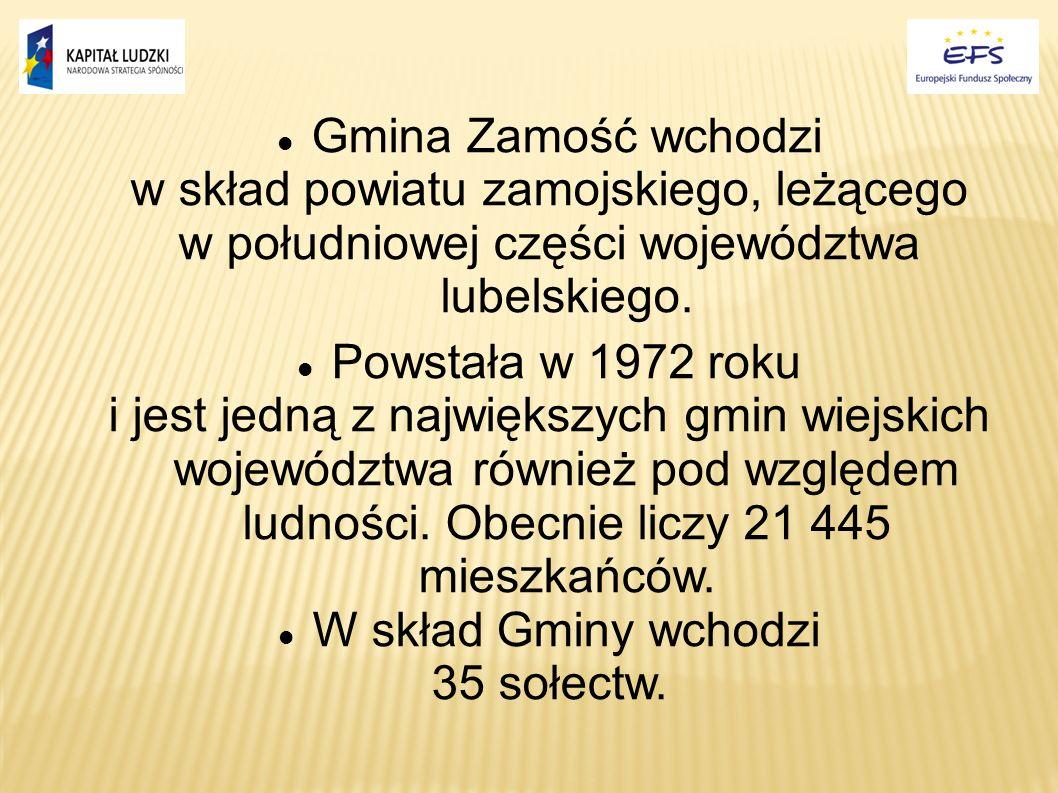 Gmina Zamość wchodzi w skład powiatu zamojskiego, leżącego w południowej części województwa lubelskiego. Powstała w 1972 roku i jest jedną z największ