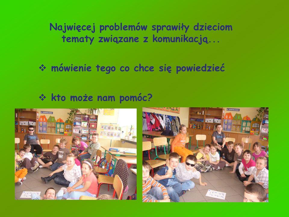 Najwięcej problemów sprawiły dzieciom tematy związane z komunikacją... mówienie tego co chce się powiedzieć kto może nam pomóc?