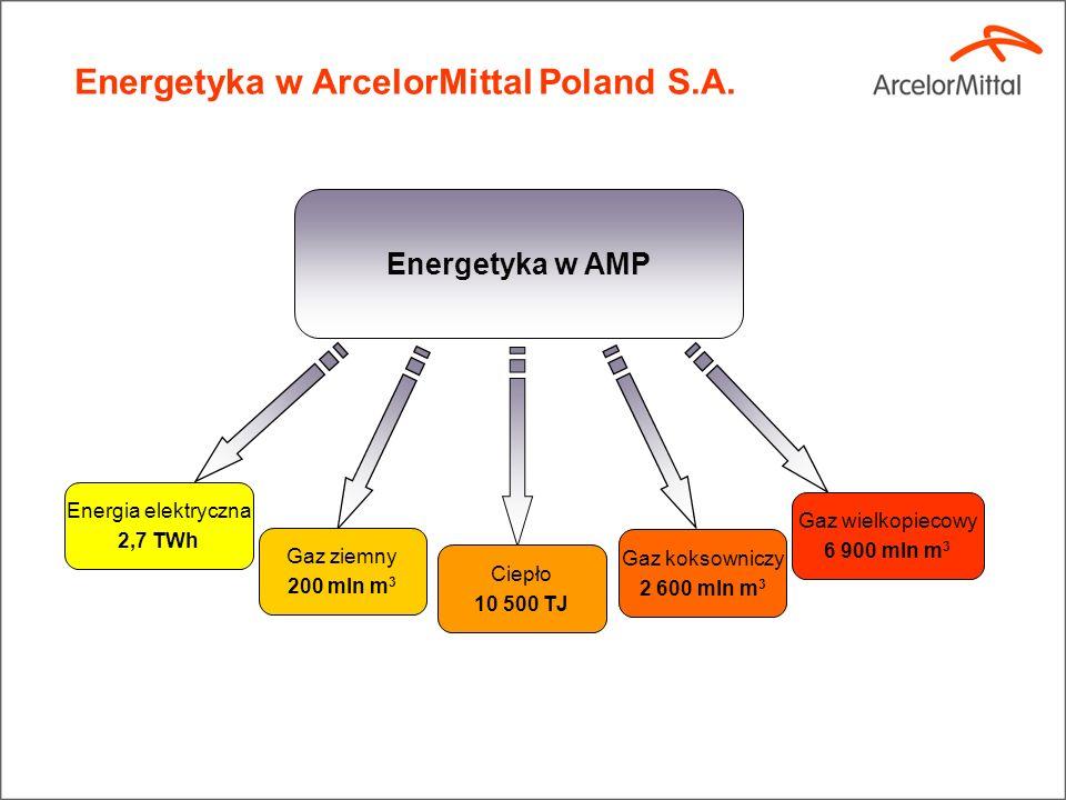 Energetyka w AMP Gaz ziemny 200 mln m 3 Energia elektryczna 2,7 TWh Ciepło 10 500 TJ Gaz koksowniczy 2 600 mln m 3 Gaz wielkopiecowy 6 900 mln m 3 Energetyka w ArcelorMittal Poland S.A.