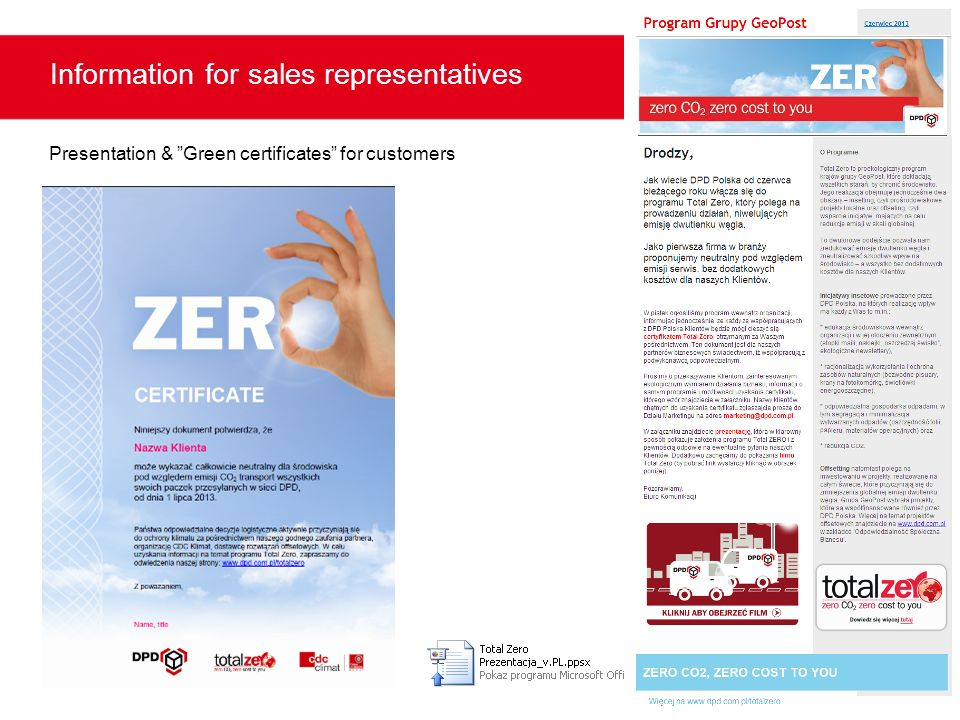 Information for sales representatives Presentation & Green certificates for customers