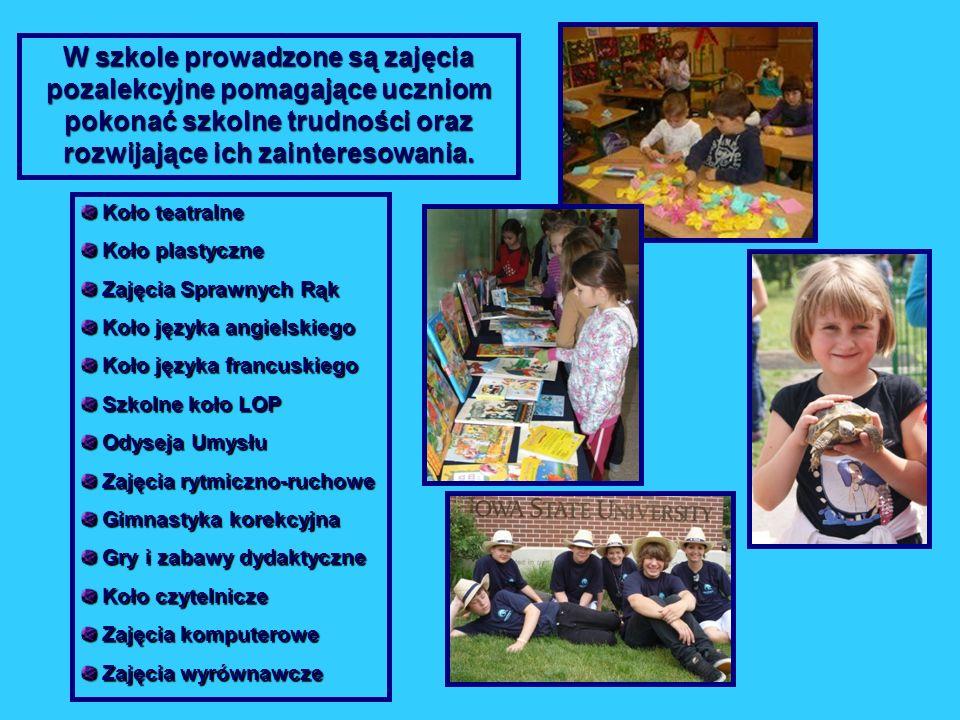 W szkole prowadzone są zajęcia pozalekcyjne pomagające uczniom pokonać szkolne trudności oraz rozwijające ich zainteresowania. Koło teatralne Koło tea