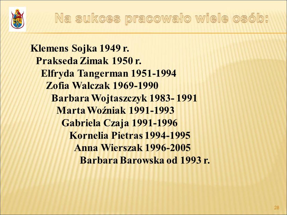 28 Klemens Sojka 1949 r. Prakseda Zimak 1950 r. Elfryda Tangerman 1951-1994 Zofia Walczak 1969-1990 Barbara Wojtaszczyk 1983- 1991 Marta Woźniak 1991-