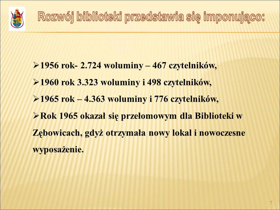 7 7 1956 rok- 2.724 woluminy – 467 czytelników, 1960 rok 3.323 woluminy i 498 czytelników, 1965 rok – 4.363 woluminy i 776 czytelników, Rok 1965 okaza