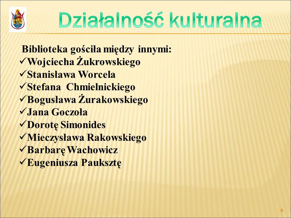 9 9 Biblioteka gościła między innymi: Wojciecha Żukrowskiego Stanisława Worcela Stefana Chmielnickiego Bogusława Żurakowskiego Jana Goczoła Dorotę Sim