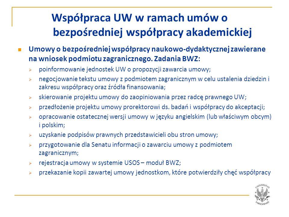 Współpraca UW w ramach umów o bezpośredniej współpracy akademickiej Umowy o bezpośredniej współpracy naukowo-dydaktycznej zawierane na wniosek jednostki UW: Dziekan lub kierownik jednostki UW, która chciałaby nawiązać współpracę akademicką z analogiczną jednostką instytucji partnerskiej, zwraca się do prorektora ds.