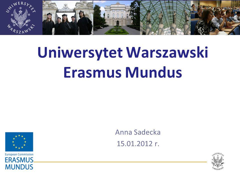 Erasmus Mundus 2007-2013 Program Komisji Europejskiej promujący wymianę osobową studentów, doktorantów, nauczycieli akademickich, pracowników naukowych oraz innych pracowników Cele Podniesienie jakości europejskiego szkolnictwa wyższego Promocja UE jako centrum doskonałości kształcenia Promocja wzajemnego zrozumienia kultur oraz rozwój szkolnictwa wyższego w tzw.