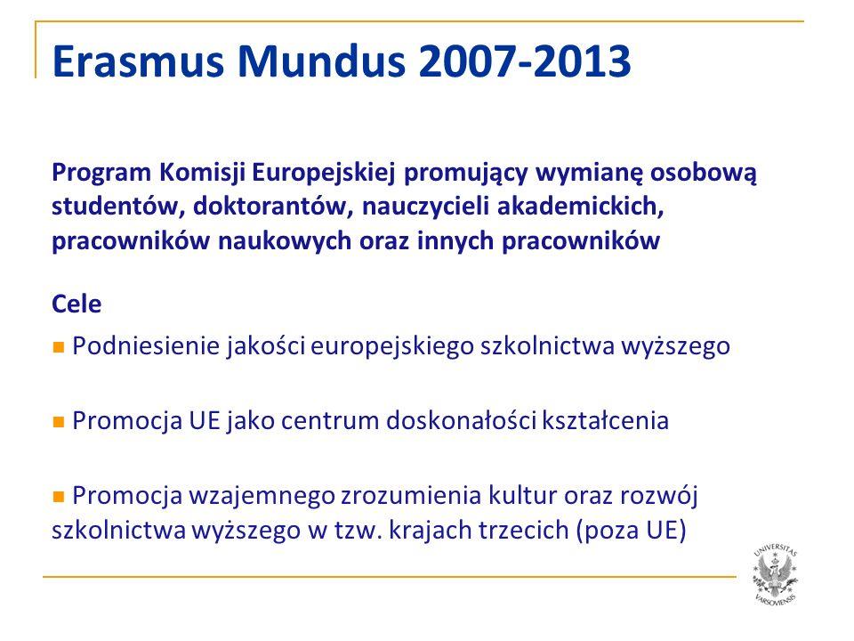 Erasmus Mundus Akcja 1, 2, 3 Akcja/Działanie 1: Wspólne programy studiów II stopnia lub doktoranckie Akcja/Działanie 2: Partnerstwa między uczelniami z krajów UE i uczelniami z tzw.