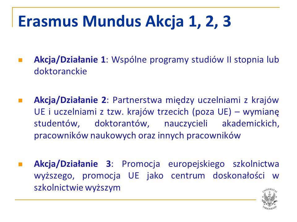 Stypendia Erasmus Mundus typu A2 Pokrywają koszty podróży, ubezpieczenie, opłaty za studia (trwające co najmniej 10 miesięcy) oraz koszty utrzymania Studenci 1 i 2 stopnia 1000 EUR miesięcznie 5-22 miesiące Doktoranci 1500 EUR miesięcznie 5-34 miesiące Po Doktoracie 1800 EUR miesięcznie 6-9 miesięcy Nauczyciele akademiccy 2500 EUR miesięcznie 1-3 miesiące i administracyjni