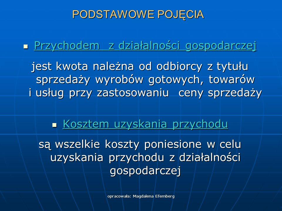 opracowała: Magdalena Efemberg PODSTAWOWE POJĘCIA Przychodem z działalności gospodarczej Przychodem z działalności gospodarczej jest kwota należna od