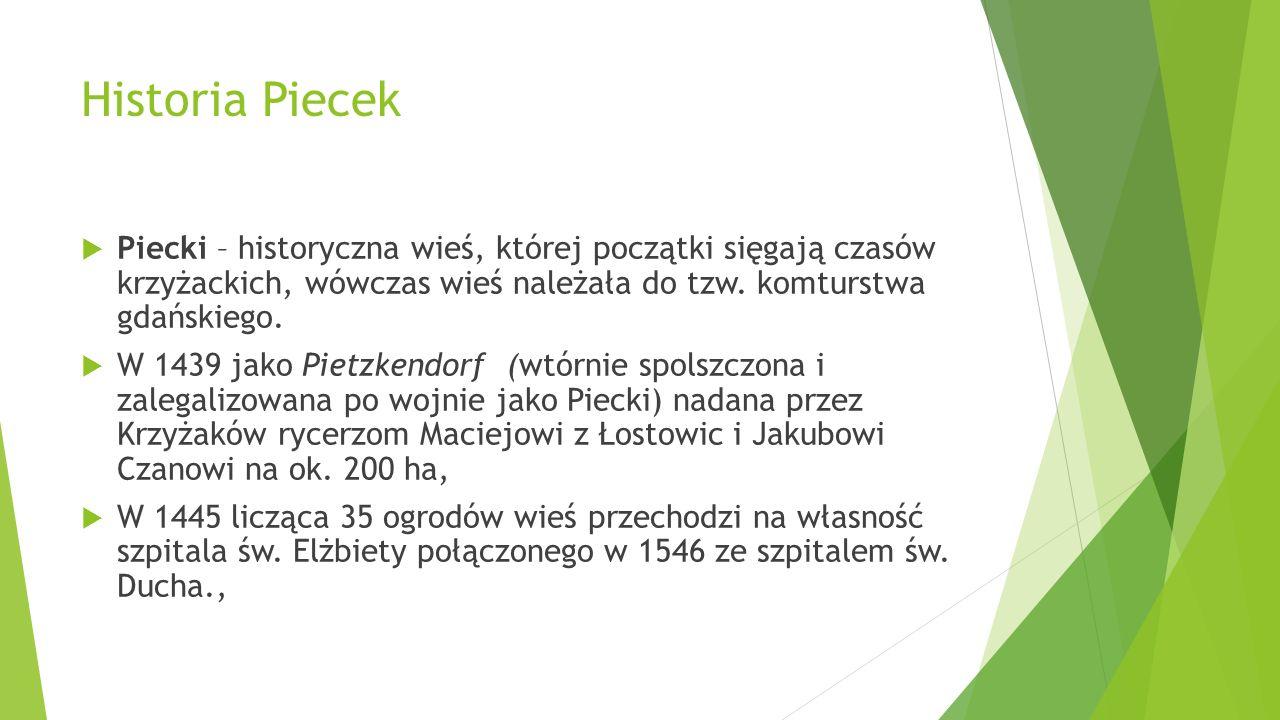 Historia Piecek Piecki – historyczna wieś, której początki sięgają czasów krzyżackich, wówczas wieś należała do tzw. komturstwa gdańskiego. W 1439 jak