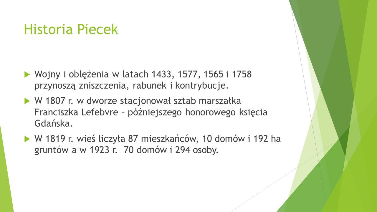Historia Piecek Wojny i oblężenia w latach 1433, 1577, 1565 i 1758 przynoszą zniszczenia, rabunek i kontrybucje. W 1807 r. w dworze stacjonował sztab