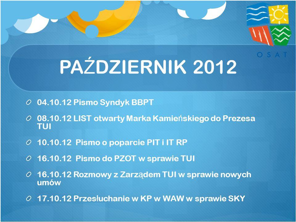 PA Ź DZIERNIK 2012 04.10.12 Pismo Syndyk BBPT 08.10.12 LIST otwarty Marka Kamie ń skiego do Prezesa TUI 10.10.12 Pismo o poparcie PIT i IT RP 16.10.12